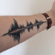 alltaddedup:Healed B&W waveform, my grandfather's voice. By Eli Draughn at Safe House Tattoo in Nashville, TN