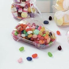 These clear plastic car shaped holders make a great favour for you to fill. Each container comes in two halves, fill them up and click them shut. Ideal for the children attending your special day. Why not personalise these holders with our selection of trims and ribbons available to match virtually any wedding theme.