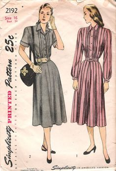 Vintage 1940s Pleated Shirtwaist Dress Sewing Pattern, Simplicity 2192