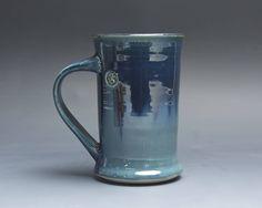 Pottery coffee mug, ceramic mug, stoneware tea cup deep blue 12 oz 4027 by BlueParrotPots on Etsy