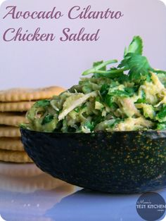 Avacado Cilantro Chicken Salad  2 cups cooked, shredded chicken (3 boneless skinless chicken thighs)  2 tablespoons chopped green onions  1 tablespoon minced red onion  1/2 cup chopped cilantro  1 avocado, mashed  pinch garlic powder  pinch chili powder  pinch ground cumin   juice from 1 small lime   salt & pepper to season
