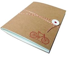 Bicycle Journal with Bakers Twine - letterpress and made by Idea Chíc