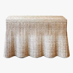 Scallop Console 48 inch made of woven rattan by Mainly Baskets Rattan Coffee Table, Interior Design Studio, Wicker, Hand Weaving, Outdoor Decor, Console Tables, Sun Room, Side Tables, Furniture