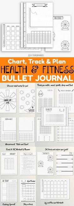Health and Fitness Bullet Journal ~ A variety of pages dedicated to keeping track of food, sleep, exercise, water, mood and habits. Places to record your goals and measurements. Pages dedicated to challenging yourself. All pages are on a dotted grid 5mm in size. Bujo fitness tracker and health journal. Fitness planner printable. Instant Download #affiliate #fitnessgoals #bulletjournalcollection #bujoprintable #healthandfitness