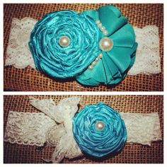 Wedding garters I made :)  Good idea so they look the way I want:)   And the color will always be perfect
