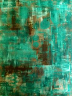 Beige, Brown and Teal Abstract Art Painting