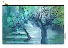 Olive Trees in Moolight Carry-All Pouch by Sabina Von Arx. They're availabe in sizes from x up to x Each pouch is printed on both sides (same image). Green Bathroom Decor, Olive Tree, Teal Blue, All Print, Green Colors, Are You Happy, Watercolor Paintings, Pouch, Make It Yourself
