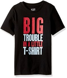 """Baby Boy Clothes The Children's Place Baby Toddler Boys' """"Big Trouble Graphic Tee, Black, 4T"""
