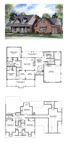 Awesome 5 Bedroom One Story House Plans 5 Bedroom One Story House Plans . Awesome 5 Bedroom One Story House Plans . House Plans One Story, Dream House Plans, Story House, Small House Plans, House Floor Plans, House Plans Cape Cod, Story Story, Cool Ideas, Diy Ideas
