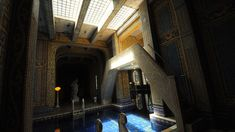 Hearst Castle - Roman Pool Complex - Light flows through glass bricks from above into the Roman Pool, creating a contrast with the indoor area, including this bridge which goes up to a diving platform. Roman Pool, Holding Court, High Windows, San Simeon, Glass Brick, Water Nymphs, Grand Homes, Abandoned Mansions, Pool Houses