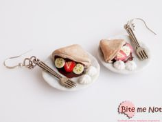 Crepes -Silver plated hook earrings!  -Ceramic plates with delicious chocolate crepes with fresh strawberry and banana slices and whipped cream! Take your fork and enjoy!