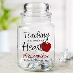 Teaching Is A Work Of Heart Personalized Candy Jar gift cookies Inspiring Teacher Personalized Glass Candy Jar Teacher Valentine, Teacher Christmas Gifts, New Teacher Gifts, Teacher Treats, Valentines For Teacher, Teacher Sayings, Staff Gifts, Christmas Projects, Holiday Crafts
