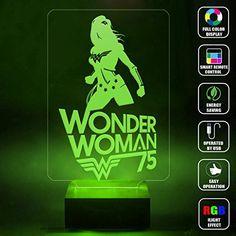 CMLART Handmade Wonder Woman 75th 3d Lamp RGB Full Color 44 Key Remote control LED Night Light Best Gift Desk Table Lighting Home Decoration Toys