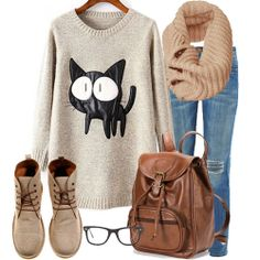 Beige Long Sleeve Contrast PU Leather Cat Pattern Sweater