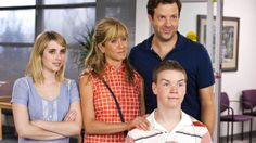 Jennifer Aniston, Emma Roberts, Jason Sudeikis, and Will Poulter in We're the Millers Will Poulter, Adam Sandler, Emma Roberts, See Movie, Movie Tv, Brad Pitt Divorce, Jennifer Aniston Movies, Millers Movie, Dramas