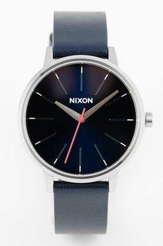 Kensington Leather Watch in Navy by Nixon
