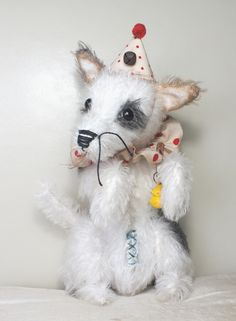 "Circus Dog - black patched Jack Russell ""Frankie"". Mohair. By A CURIOUS WHIM."