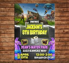 Personalized Fortnite Birthday Party Invitation