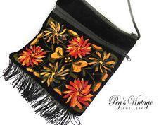 Vintage Black Velveteen Embroidered Floral by PegsVintageJewellery, $13.00
