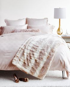 One of three handsome faux throws featured on Around the House. This one is from Au Lit Fine Linens. Pink Bedroom Decor, Pink Bedrooms, Bedroom Inspo, Bedroom Ideas, Bedroom Inspiration, Pink Bedding, Luxury Bedding, Bedding Sets, Between The Sheets