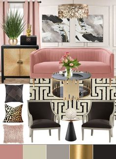Living Room Decorating Ideas by Color - Mood Boards - Angela East Glam Living Room, Glam Room, New Living Room, Living Room Interior, Living Room Furniture, Living Room Decor, Interior Livingroom, Room Wall Decor, Cheap Home Decor