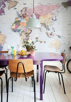 The annie sloan vintage world map fabric adds a stylish look to a home decor la parete che rinnova una stanza ovvero lavoretti da fare in caso gumiabroncs Image collections