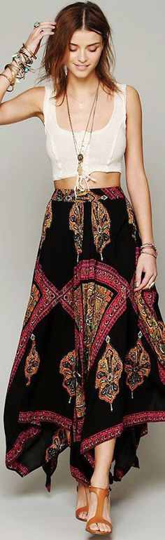 Free People Heart Of Gold Maxi Skirt. Very sexy and comfy looking. Not sure if I can pull off the crop top though.