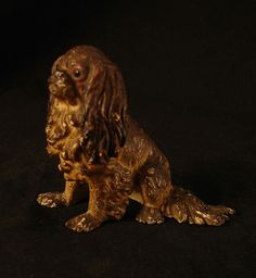 """Vienna Bronze Cavalier King Charles Spaniel Dog. c. 1900.    Size:  2 1/4"""" H"""