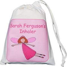 Personalised Flying Fairy- Asthma Inhaler & Spacer bag - XS drawstring bag EMPTY