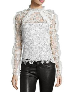 SELF-PORTRAIT CUTOUT FLORAL GUIPURE LACE TOP. #self-portrait #cloth #