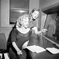 Marilyn prepares to play the role of a murderer on radio for NBC, 1952.