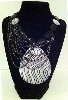 Handmade Black Crystal Zebra Stripe Shell Pendant Necklace by Jurney Jurray