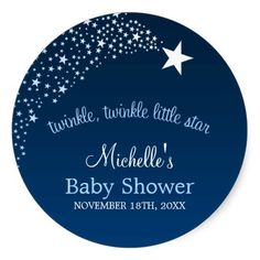 Twinkle Little Shooting Star Baby Shower Round Stickers