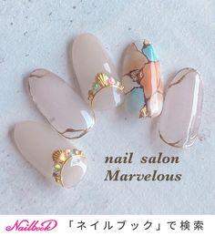 Pretty marble colors for summer! Japanese Nail Design, Japanese Nail Art, Korean Nails, London Nails, Manicure Y Pedicure, Gel Nail Designs, Toe Nail Art, Bling Nails, Love Nails