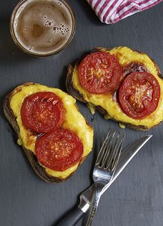 Welsh Rarebit is a delicious blend of cheddar egg yolk Worcestershire mustard & beer piled onto slabs of toast & broiled until bubbly! Wrap Recipes, Milk Recipes, Brunch Recipes, Easy Dinner Recipes, Real Food Recipes, Vegetarian Recipes, Breakfast Recipes, Cooking Recipes, Yummy Food