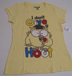 "Tootsie Roll ""I Don't Give a Hoot"" YELLOW Girls T Shirt (XL - 15-17) Children's size by Tootsie Roll. $2.99. 60% Cotton. 40% Polyester. Tootsie Roll ""I Don't Give a Hoot"" Girls T Shirt (XL - 15-17)"