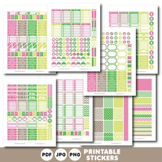 Green and pink printable monthly and weekly planner stickers kit, STI-392