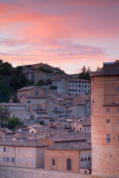 View of Urbino, UNESCO World Heritage Site, at sunset, Le Marche, Italy, Europe
