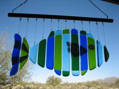 fused glass fish windchime