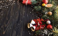 Download wallpapers Christmas, New Year, decorations, bells, red ribbons, Christmas tree