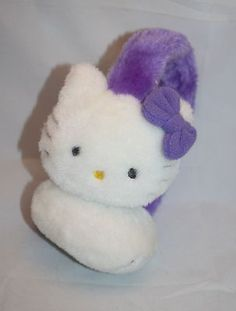 Hello Kitty Earmuff Purple White Plush Sanrio Ear Muff 1 Size Fit Most Headband