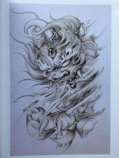 Foo Dog Tattoo Design, Japan Tattoo Design, Japanese Tattoo Designs, Tattoo Design Drawings, Tattoo Sleeve Designs, Tattoo Sketches, Sleeve Tattoos, Backpiece Tattoo, Hanya Tattoo