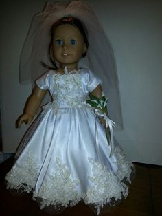 """18"""" Doll wedding gown from recycled wedding dress."""