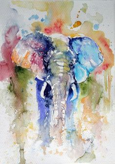 ARTFINDER: Elephant by Kovács Anna Brigitta - Original watercolour painting on high quality watercolour paper. I love landscapes, still life, nature and wildlife, lights and shadows, colorful sight. Thes...