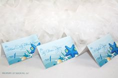 Escort cards place cards - Sea shells and Starfish Destination Beach wedding design.