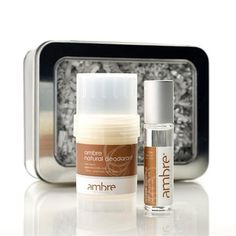 *  Includes:  Ambre Essence 10ml Roll-On Oil & .75oz Natural Deodorant. *  Packaged in a recyclable silver windowed tin.