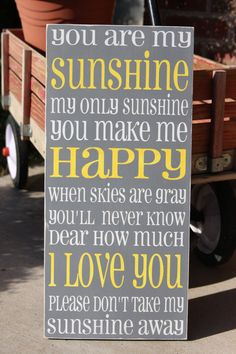You are my Sunshine typography word art hand by MissMelissBoutique, $45.00