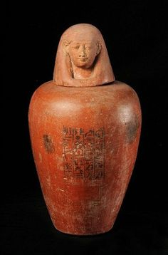 Pottery canopic jar inscribed with the name of Neferamon. New Kingdom.   Rijksmuseum van Oudheden