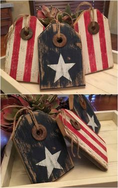 16 DIY Rustic Wooden Fourth Of July Decor Ideas – Style Motivation Wooden diy - Wooden crafts - Wood Americana Crafts, Patriotic Crafts, Country Crafts, Rustic Americana Decor, Patriotic Flags, 4th July Crafts, Fourth Of July Decor, 4th Of July Decorations, 4th Of July Party