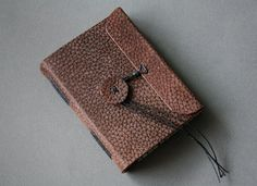 Pocket traveler - small leather journal in brown nubuck